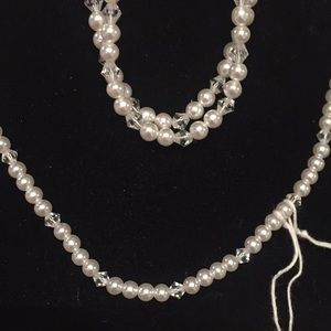 Jewelry - Necklace and bracelet: pearl and crystal